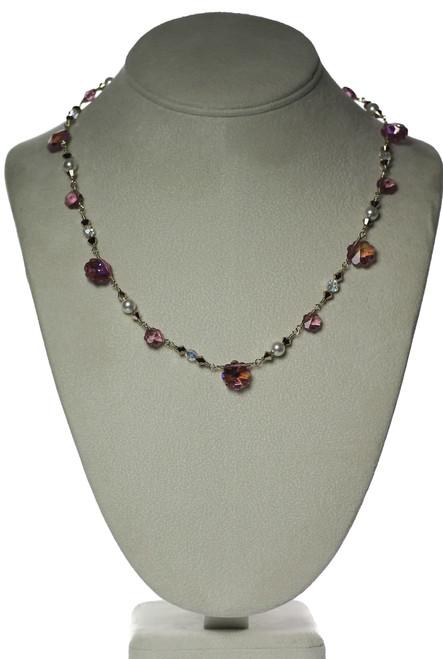 Vintage Pink Flower Crystal Necklace