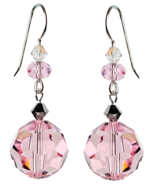 Pink vintage earrings made with sterling silver