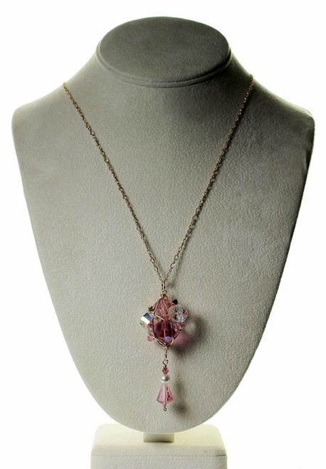 "pink pendant necklace wire wrapped using  swarovski crystals , some very rare crystals - on gold filled - 21"" long - limited edition necklace"