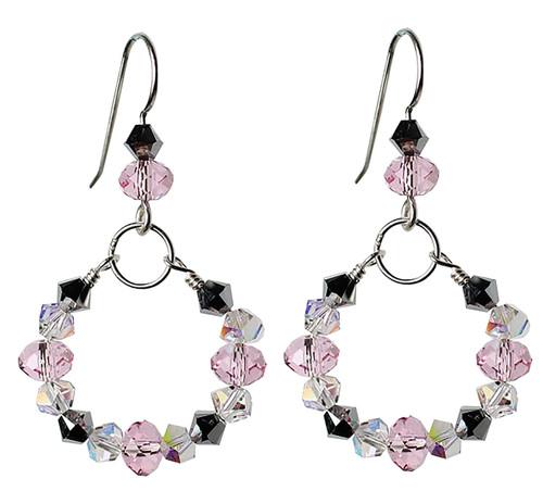 Pink and Sterling Silver Hoop Earrings