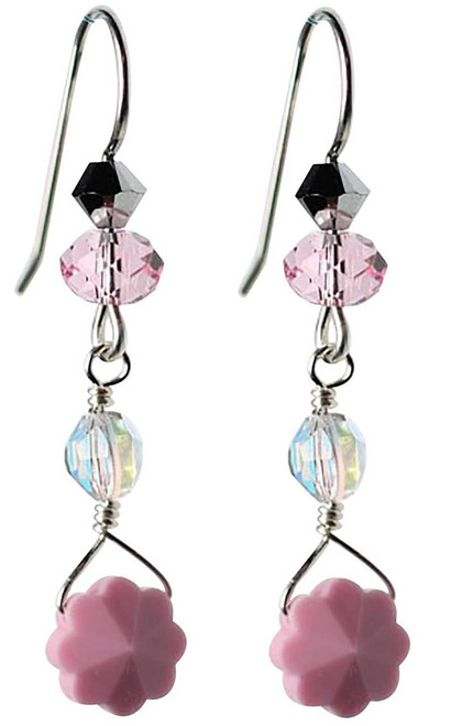 opal pink flower earrings