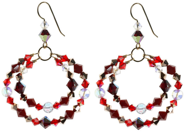 Red double hoop earrings made with rare swarovski and 14K gold filled