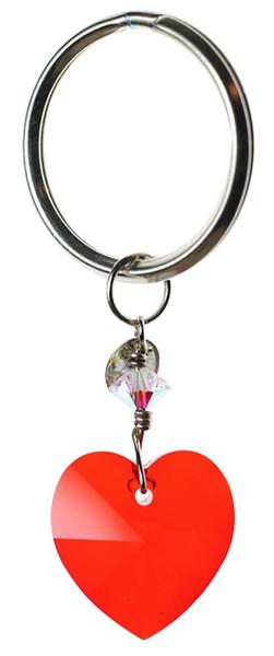 Red Swarovski crystal heart key chain on sterling silver.