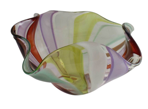 This one of a kind hand blown glass floppy bowl