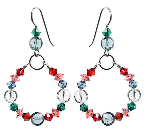 Christmas in July Crystal Hoop Earrings. Sterling silver and Swarovski crystal.