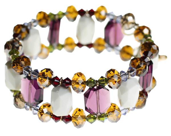 White Swarovski crystal and purple amethyst cuff bracelet