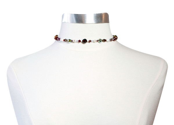 Swarovski Crystal Colorful Thin Choker with Vintage Ivory Crystals  • Bohemian Chic