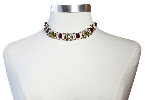 14K Gold Filled Swarovski Crystal One of a Kind Collar Necklace • Bohemian Chic