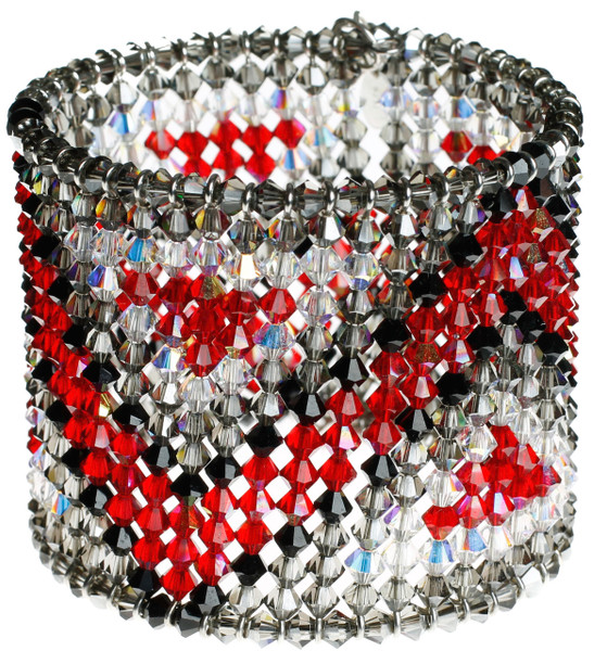 Red,black and grey Art deco style crystal cuff bracelet