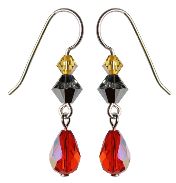Sterling Silver Swarovski Crystal Limited Edition Halloween Earrings with Vintage Hyacinth