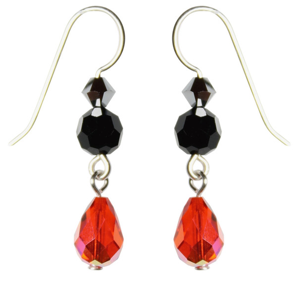 Sterling Silver Orange & Black Swarovski Crystal Limited Edition Halloween Earrings with Vintage Hyacinth