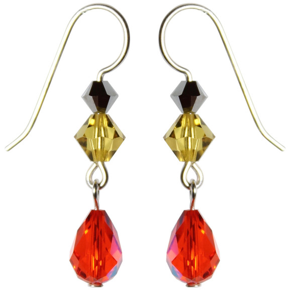 Sterling Silver Orange & Yellow Swarovski Crystal Limited Edition Halloween Earrings with Vintage Hyacinth