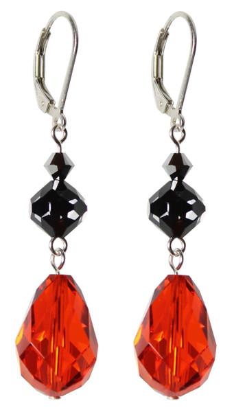 Sterling Silver Swarovski Crystal Limited Edition Black, Orange & Silver Halloween Earrings with Beautiful 15mm Vintage Hyacinth Pear Shape Drop
