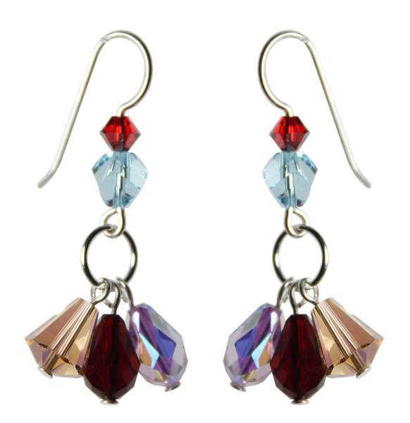 Sterling Silver Swarovski Crystal Triple Drop Dangle Earrings • Sailing Collection