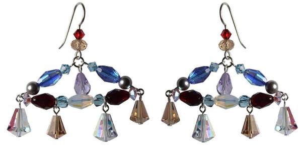 One of a Kind Sterling Silver Swarovski Crystal Chandelier Earrings • Sailing