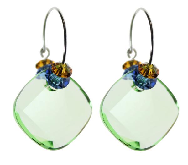 Sterling Silver Swarovski Crystal Peridot Hoop Earrings • Aruba Collection