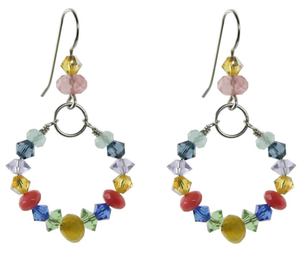 Colorful hoop earrings with crystal and semi precious on sterling silver