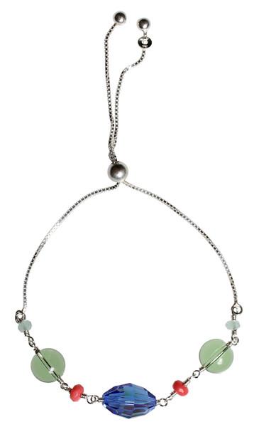 Slider bracelet made with vintage blue sapphire Swarovski