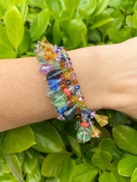 One of a Kind Colorful Swarovski Crystal & Semi Precious Sterling Silver Martini Bracelet • Aruba