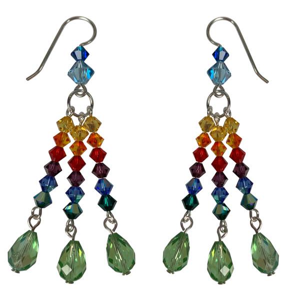 Swarovski Crystal Limited Edition 3 Strand Rainbow Earrings