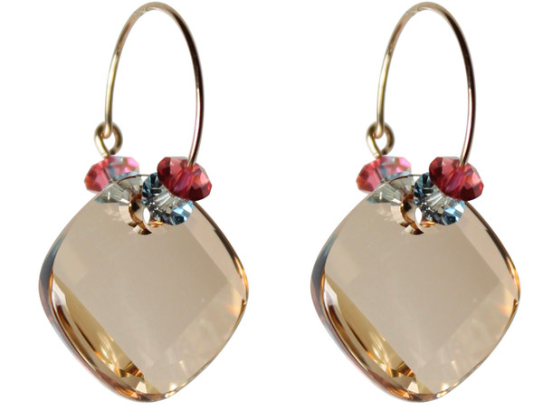14K Gold Filled Hoop Earrings with Champaign Metro Pendant - Urban Cowgirl