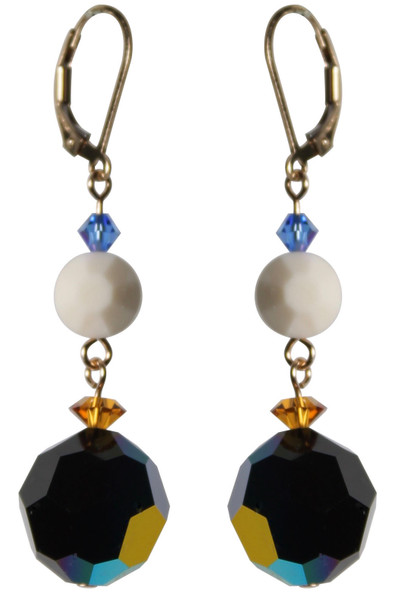 14K Gold Filled Swarovski Crystal Earrings with Vintage 14m Jet AB  - Urban Cowgirl