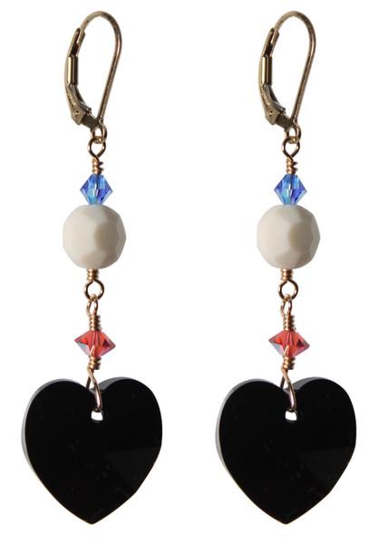 14K Gold Filled Black Heart Swarovski Crystals Earrings - Urban Cowgirl