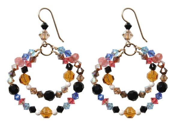 14K Gold Filled Swarovski Crystal Double Hoops Earrings - Urban Cowgirl