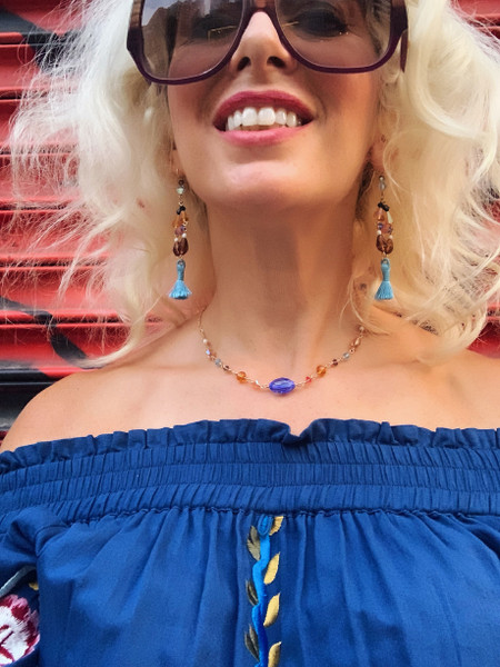 Wire Wrapped 14K Gold Filled Swarovski Crystal w. Vintage Sapphire AB Center  Simple Necklace - Urban Cowgirl