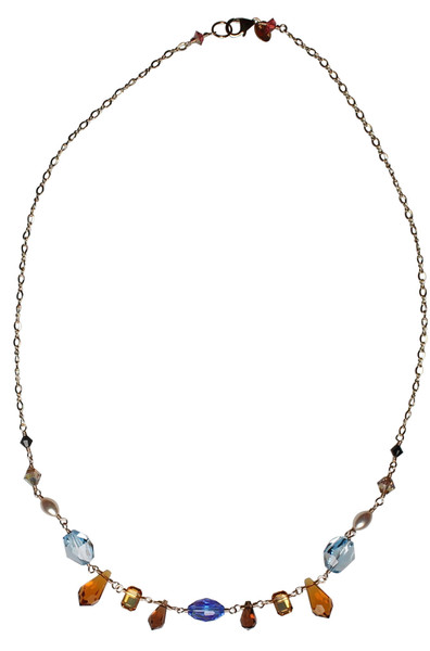 Fancy 14K Gold Filled Chain Wire Wrapped Swarovski & Vintage Swarovski Simple Necklace - Urban Cowgirl