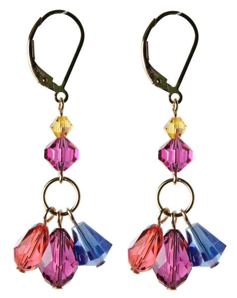 14K Gold Filled Swarovski Crystal Triple Drop Earrings - Confectionary