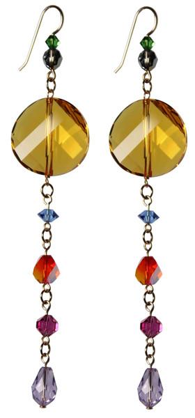 One of a kind 14K Gold Filled Swarovski Crystal Colorful Shoulder Duster Earrings - Confectionary
