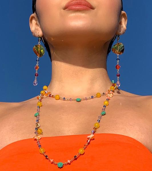 "14K Gold Filled Semi Precious, Venetian glass & Swarovski Crystal 45"" Necklace - Confectionary"