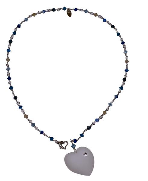 Sterling Silver Swarovski Crystal Heart Necklace - Blue