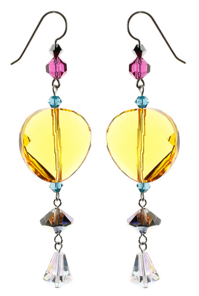 Bright cheerful earrings made with rare Swarovski crystal and sterling silver
