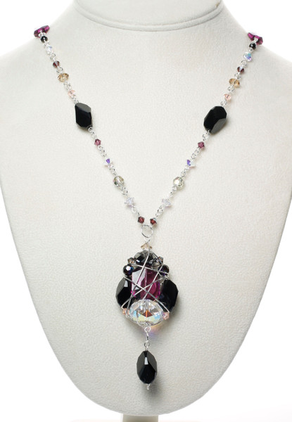 Vintage Crystal and Sterling Silver Statement Necklace