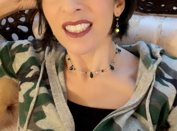 Sterling Silver Swarovski Crystal 3-Way Versatile with Spikes Necklace - Emerald