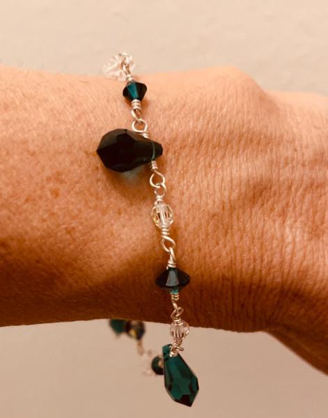 "Sterling Silver Swarovski Crystal 7"" Bracelet - Emerald"