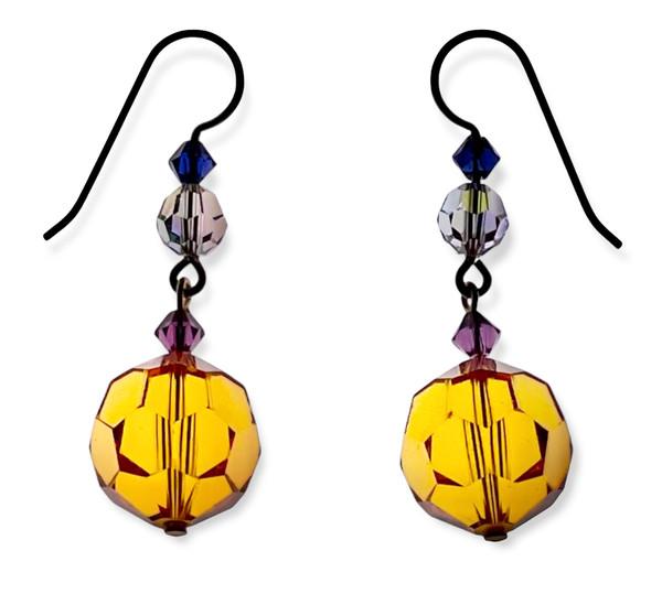 14K Gold Filled Swarovski Crystal 14mm Topaz Drop Earrings