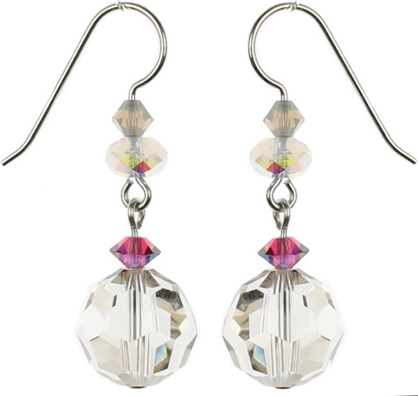 Beautiful single drop earrings with large starlight Swarovski crystal made on sterling silver. Starlight is a greyish bead and accented with fuchsia, white opal and sand colored Swarovski elements.