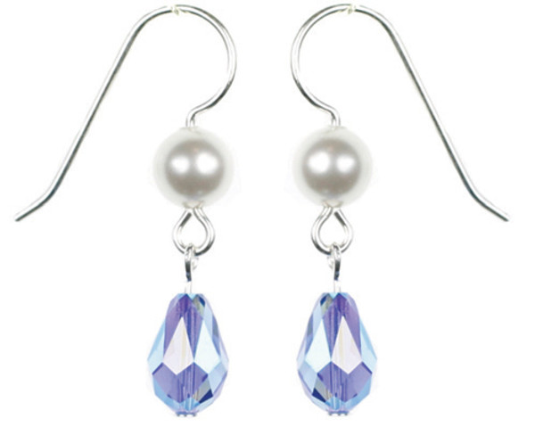Sapphire Blue and White Pearl Earrings
