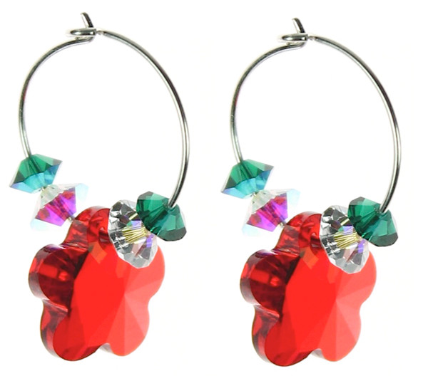 Christmas earrings made with Swarovski crystal and sterling silver