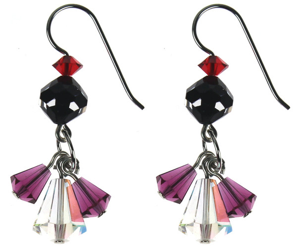 Sterling Silver Swarovski Crystal Triple Drop Dangle Earrings - Amore collection