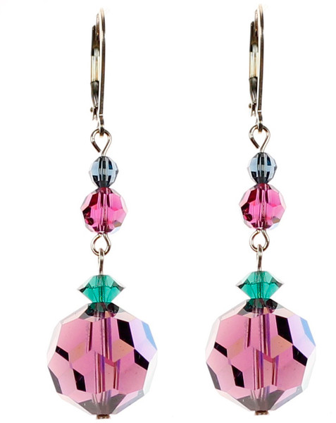 Purple crystal earrings made by Karen Curtis NYC. Every design on www.karencurtis.com incorporates rare Swarovski crystal.