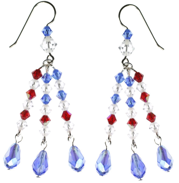 Swarovski crystal earrings with an American flare by Karen Curtis NYC