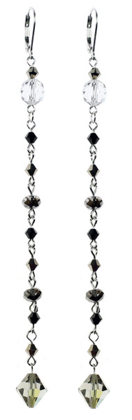 Long shoulder duster earrings made with Swarovski crystal and sterling silver by The Karen Curtis jewelry company.