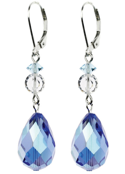Large Sapphire Blue Crystal Earrings on Silver