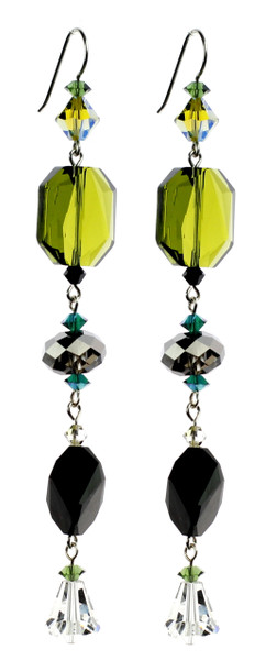 Green & Black Shoulder Duster Earrings