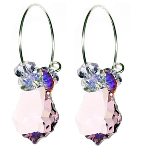 Amazing Colorful Crystal Hoop Earrings in Light Purple. Swarovski Crystal Jewelry Designer Karen Curtis.