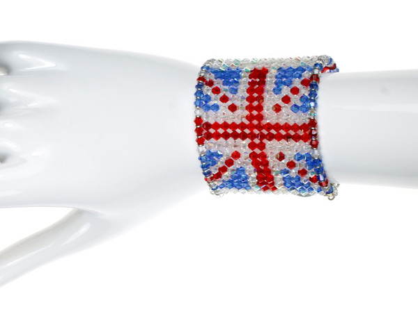 British Flag Crystal Cuff Bracelet by karen Curtis NYC